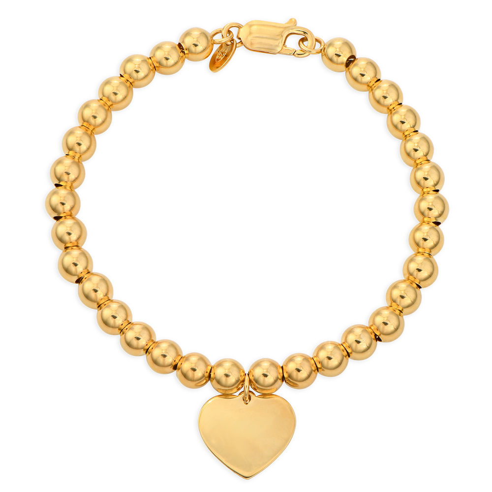 Heart Charm Beaded Bracelet in Gold Plating with Prewritten Gift Note - 1