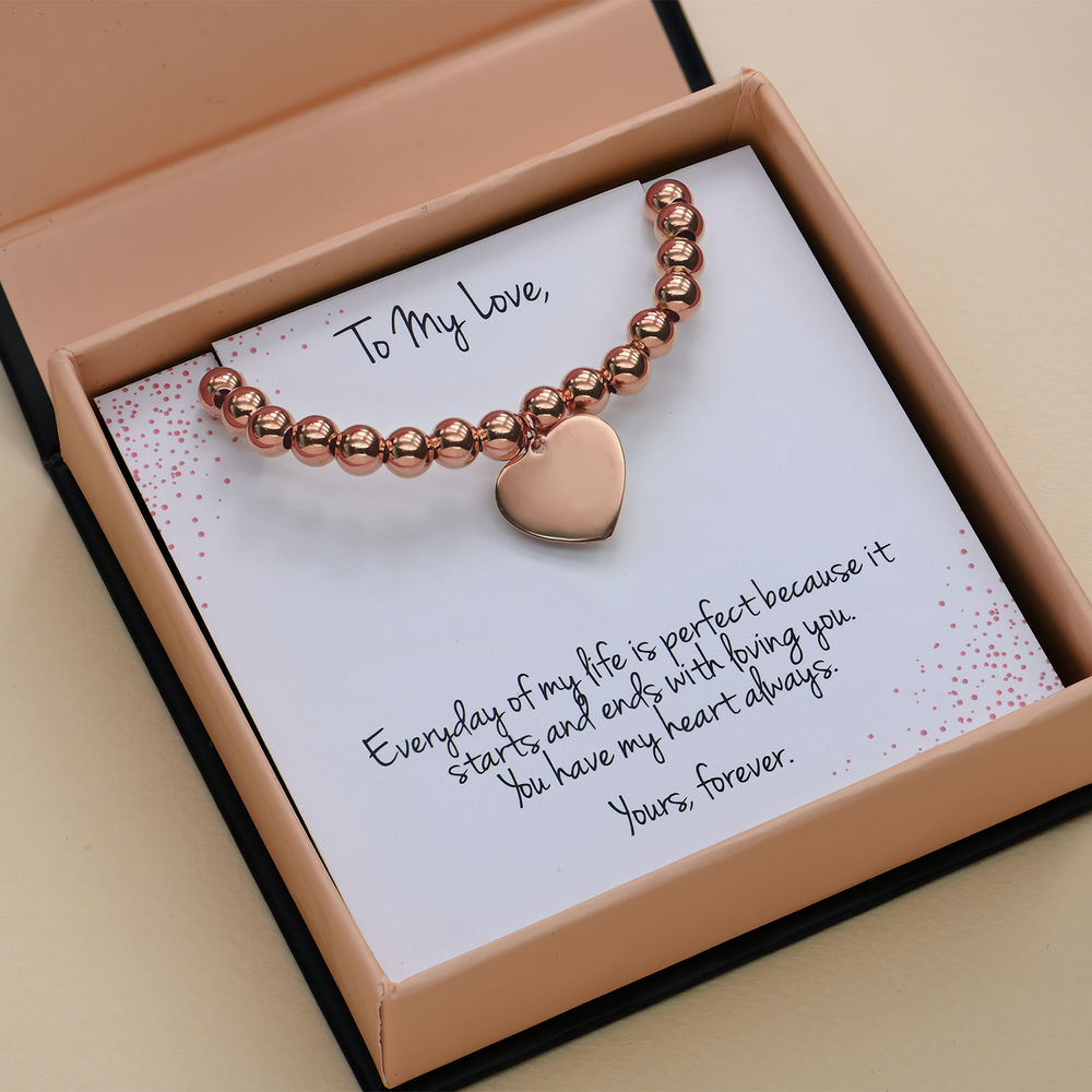 Heart Charm Beaded Bracelet in Rose gold Plating with Prewritten Gift Note