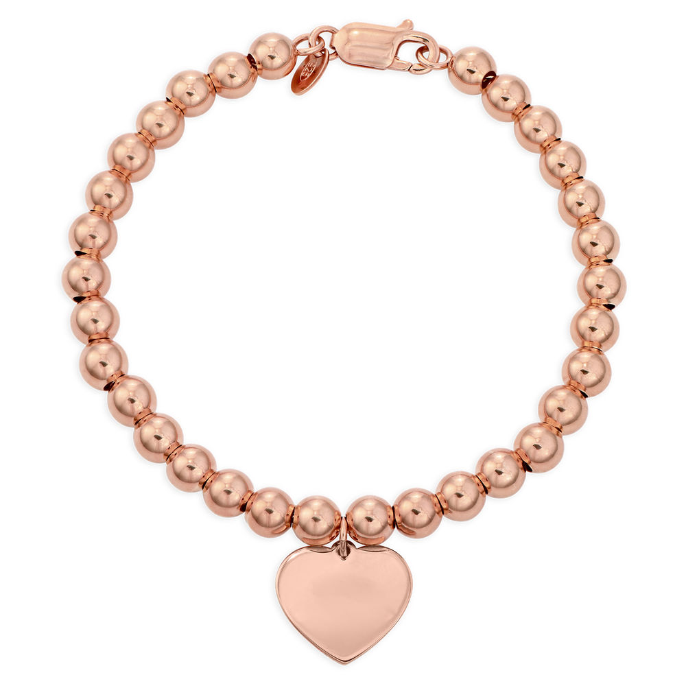 Heart Charm Beaded Bracelet in Rose gold Plating with Prewritten Gift Note - 1