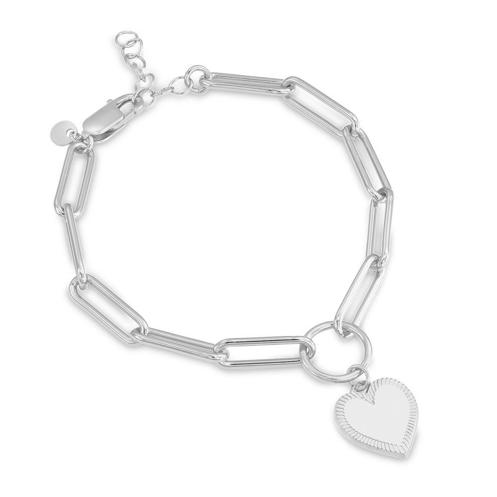 Heart Pendant Link Bracelet in Sterling Silver with Prewritten Gift Note - 1