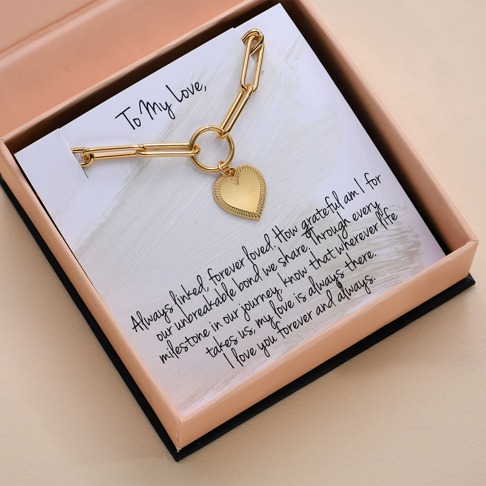 Heart Pendant Link Bracelet in Gold Plating with Prewritten Gift Note