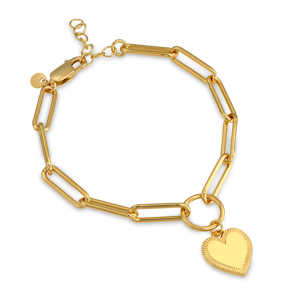 Heart Pendant Link Bracelet in Gold Plating with Prewritten Gift Note - 1