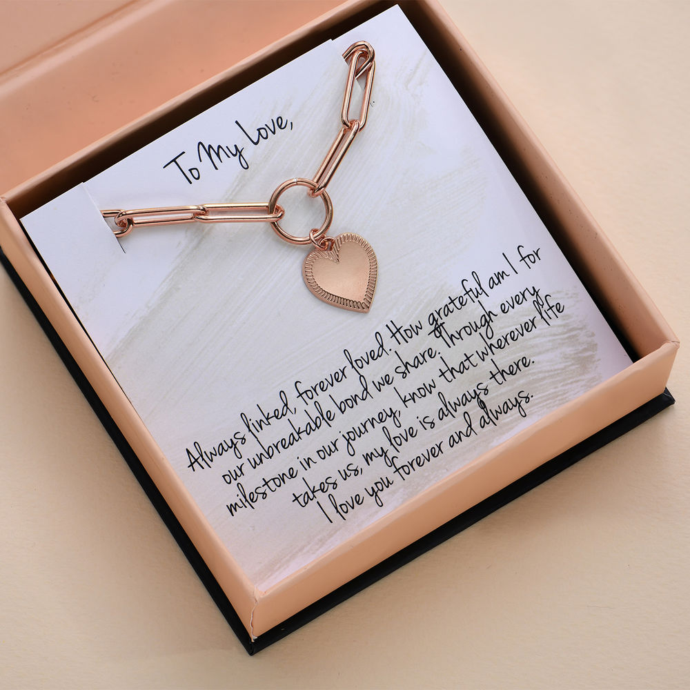Heart Pendant Link Bracelet in Rose Gold Plating with Prewritten Gift Note