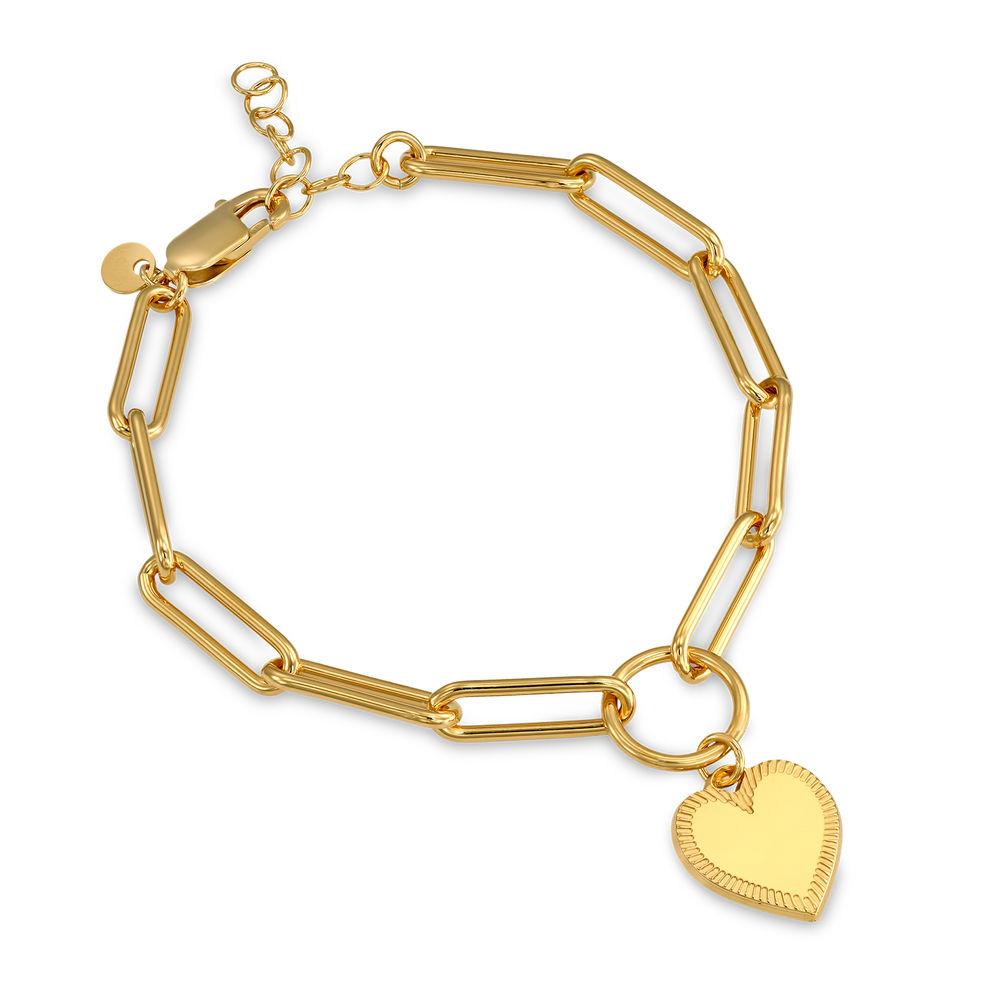 Heart Pendant Link Bracelet in Gold Vermeil with Prewritten Gift Note - 1