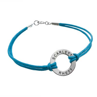 Silver Circle Bracelet with Leather Style Cord - 1