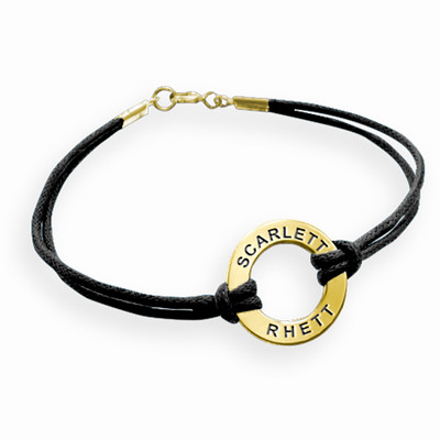 Gold Plated Circle Bracelet with Leather Style Cord - 1
