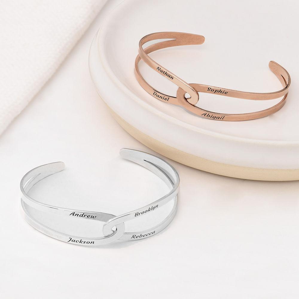 Hand in Hand - Custom Bracelet Cuff in Rose Gold Plating - 3