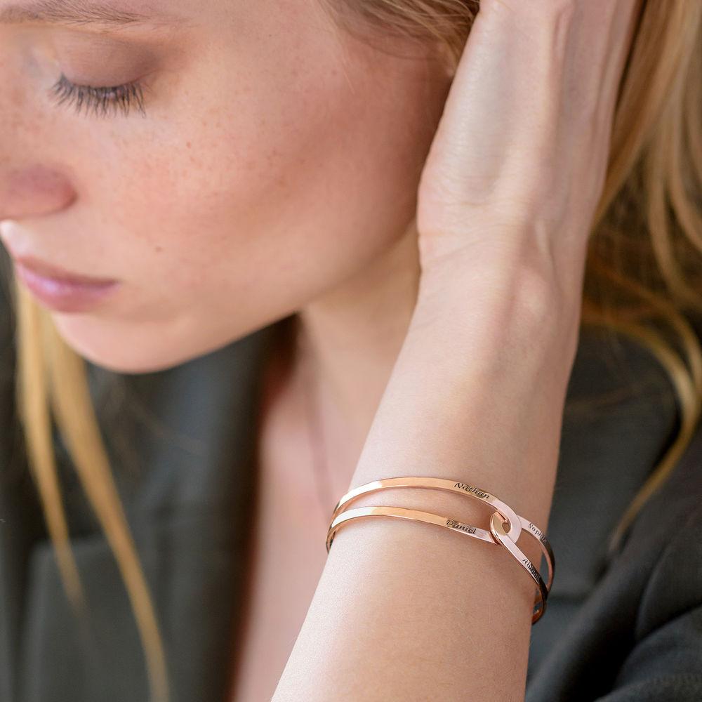 Hand in Hand - Custom Bracelet Cuff in Rose Gold Plating - 4