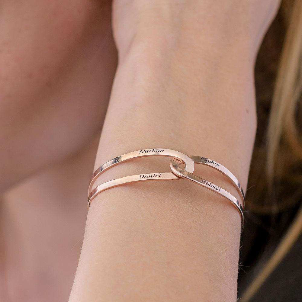 Hand in Hand - Custom Bracelet Cuff in Rose Gold Plating - 5