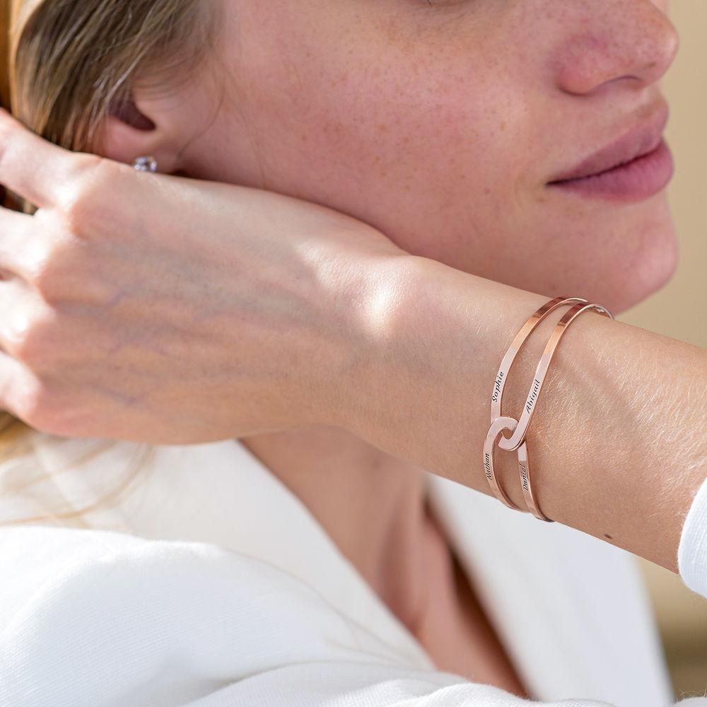 Hand in Hand - Custom Bracelet Cuff in Rose Gold Plating - 6