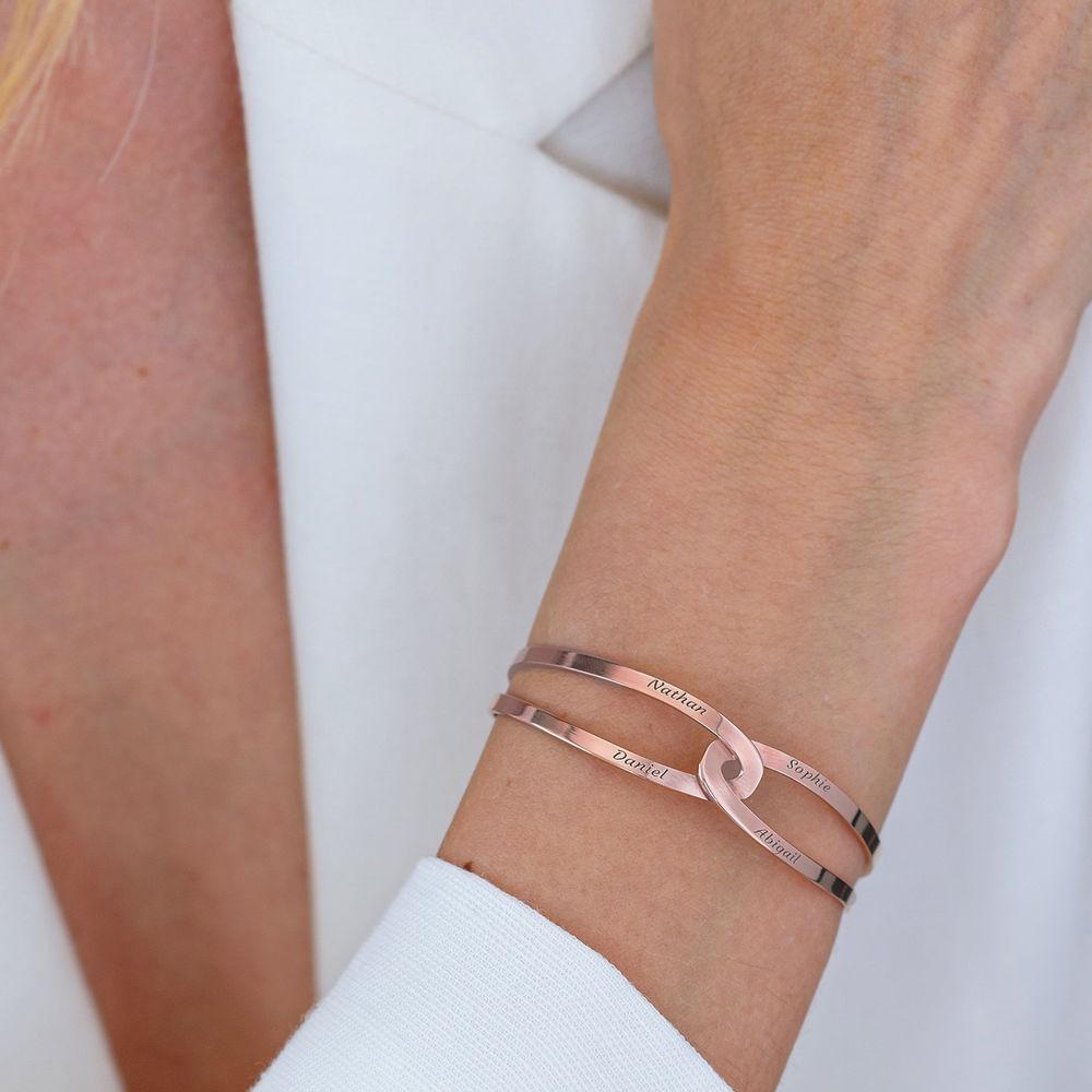 Hand in Hand - Custom Bracelet Cuff in Rose Gold Plating - 7