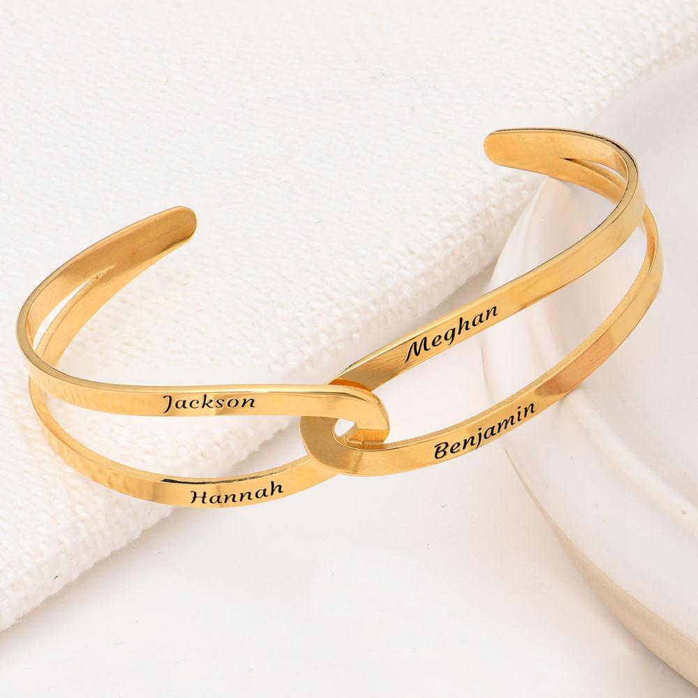 Hand in Hand - Custom Bracelet Cuff in Gold Vermeil - 3