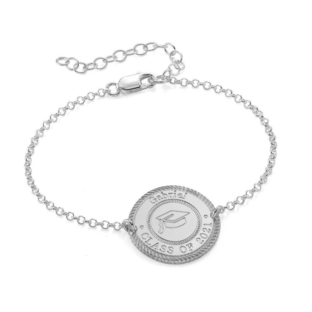 Graduation Cap Personalized Bracelet in Sterling Silver