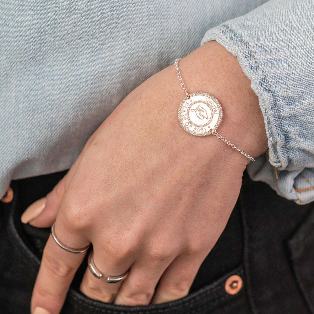 Graduation Cap Personalized Bracelet in Sterling Silver - 1