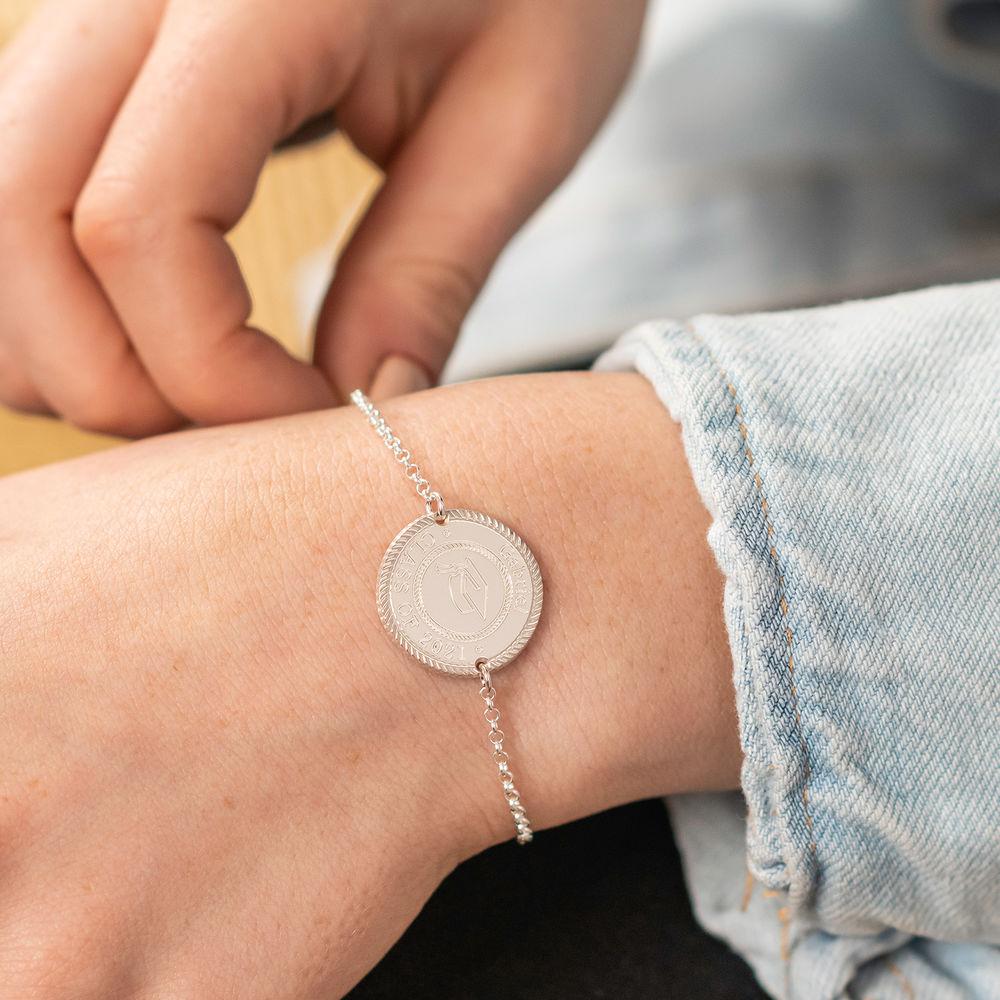 Graduation Cap Personalized Bracelet in Sterling Silver - 2