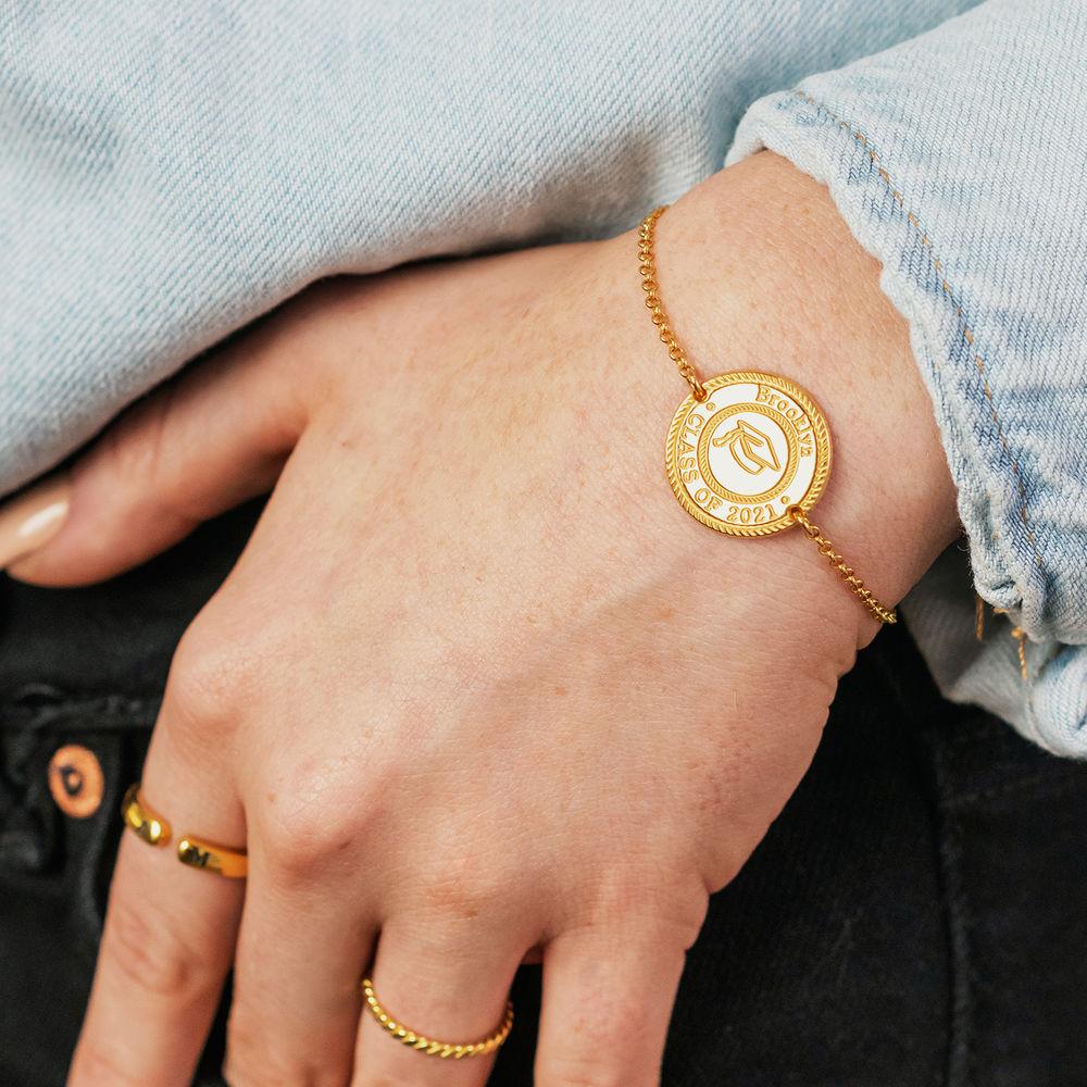 Graduation Cap Personalized Bracelet in Gold Plating - 2