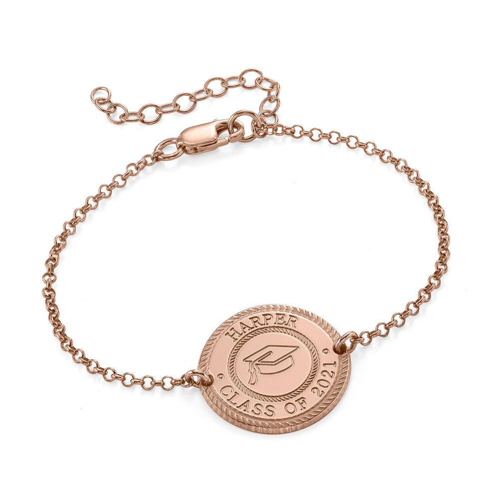 Graduation Cap Personalized Bracelet in Rose Gold Plating