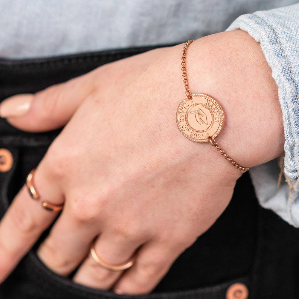 Graduation Cap Personalized Bracelet in Rose Gold Plating - 2