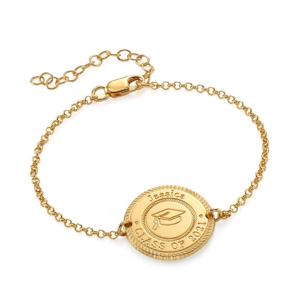 Graduation Cap Personalized Bracelet in Gold Vermeil