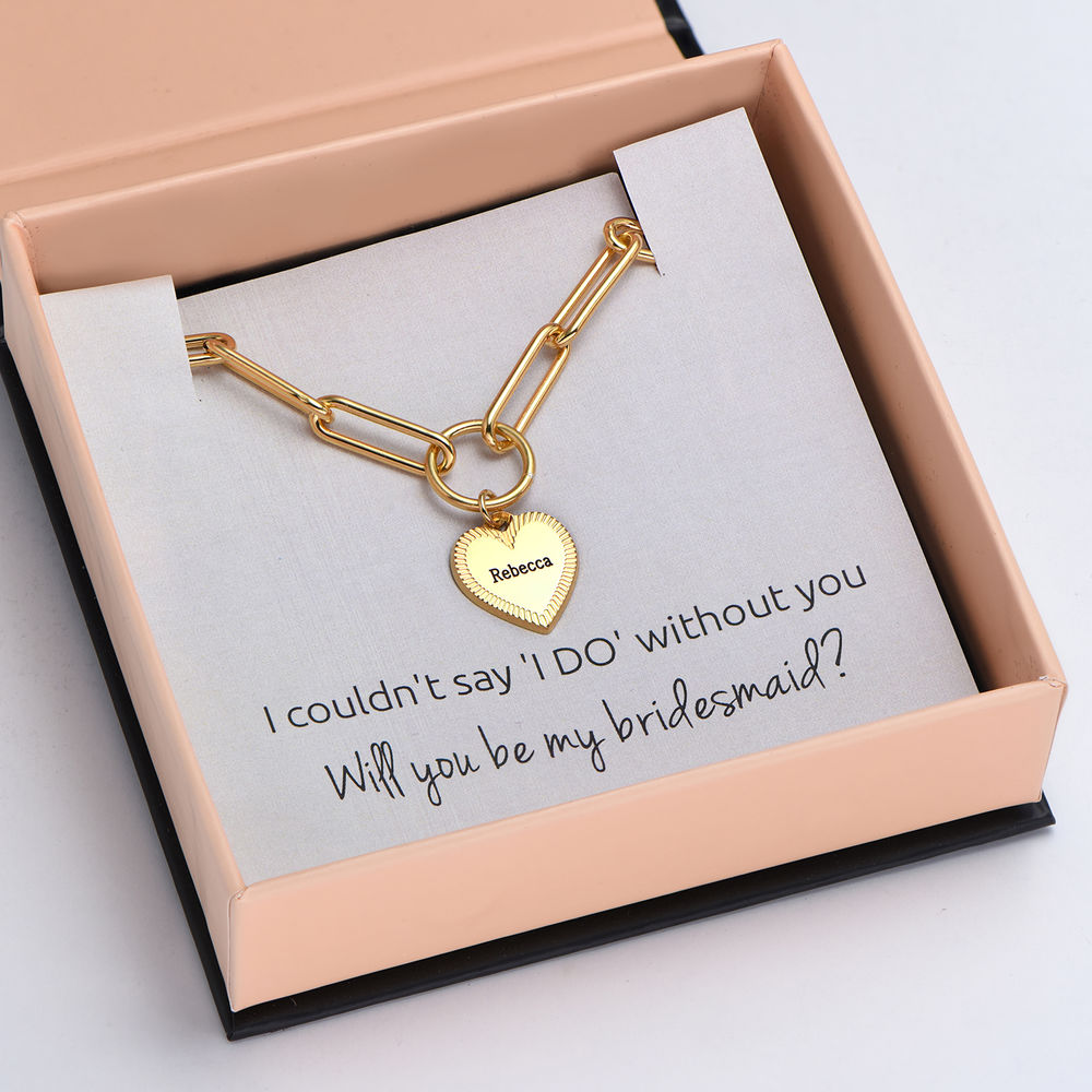 Please Be My Bridesmaid - Link Bracelet With Engraved Heart Pendant in 18K Gold Plating