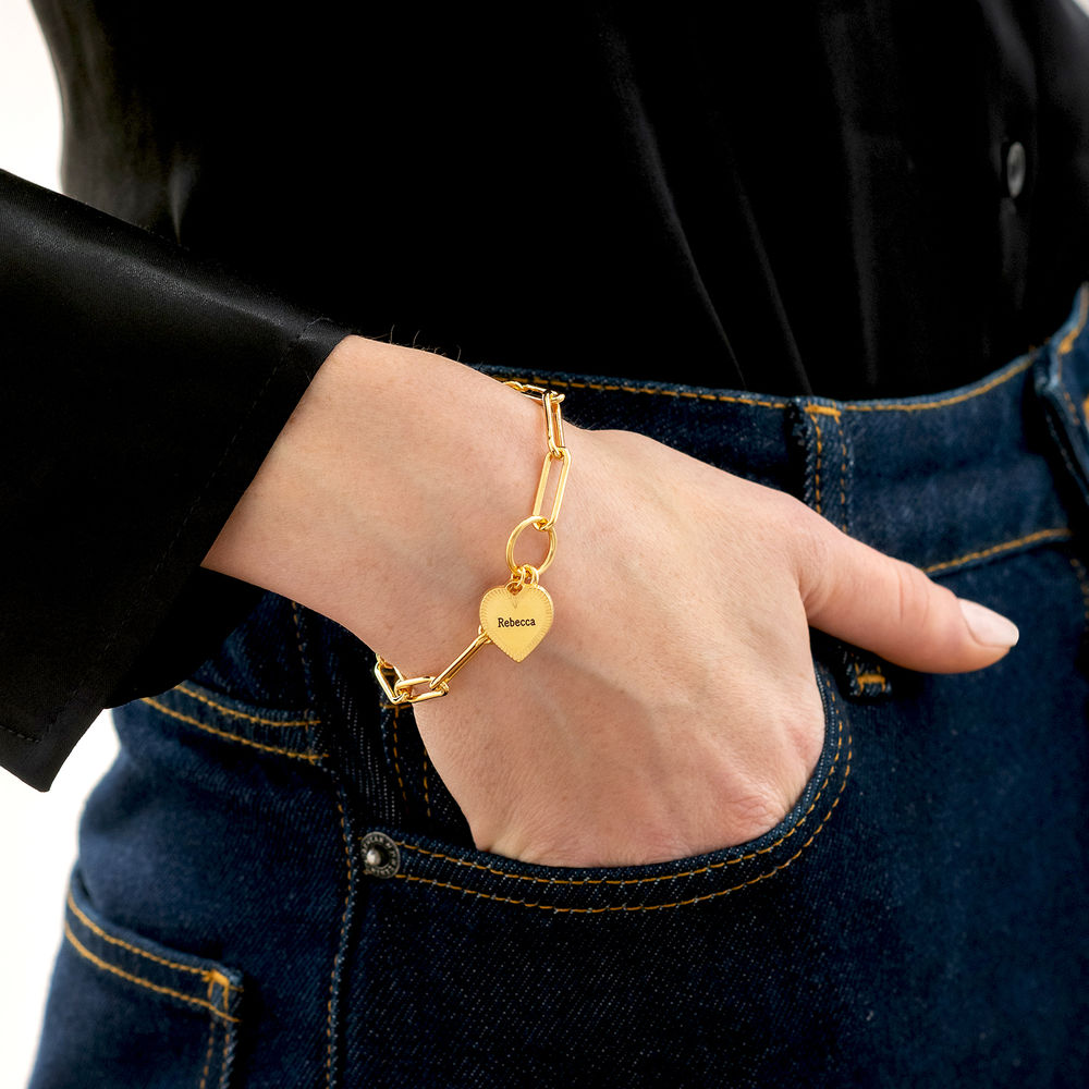 Please Be My Bridesmaid - Link Bracelet With Engraved Heart Pendant in 18K Gold Plating - 2