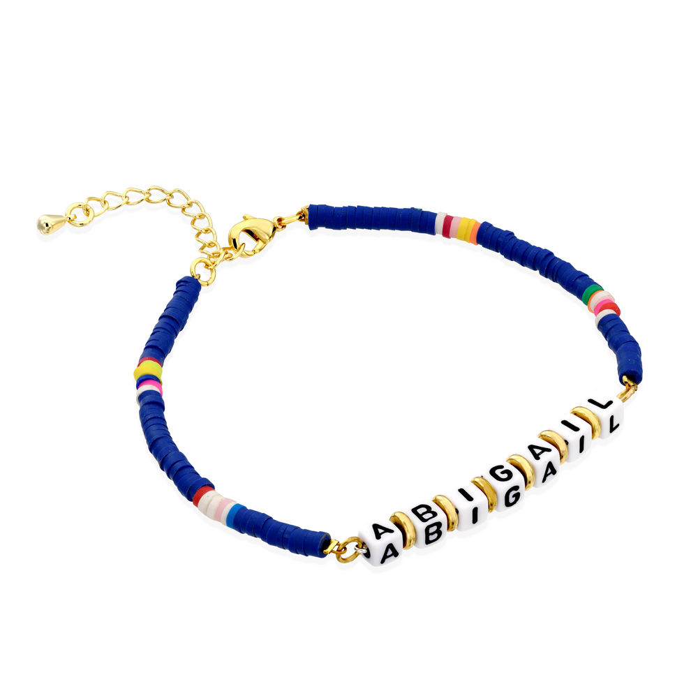 Royal Berry Beaded Name Bracelet in 18k Gold Plated
