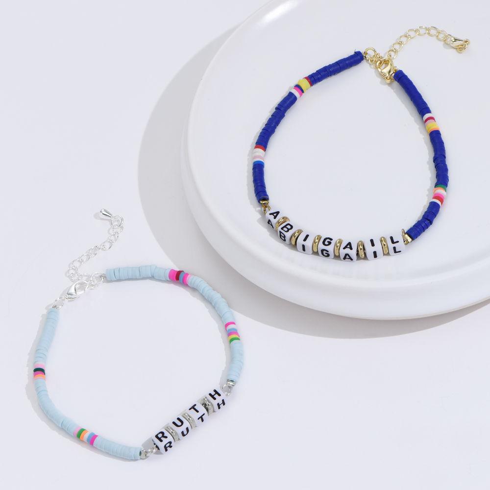 Tidal Wave Custom Beaded Name Bracelet in Sterling Silver - 1