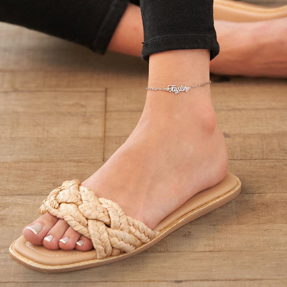 Costume Paperclip Name Bracelet/Anklet in Sterling Silver - 3