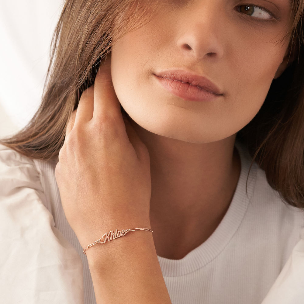 Custom Paperclip Name Bracelet/Anklet in Rose Gold Plating - 2