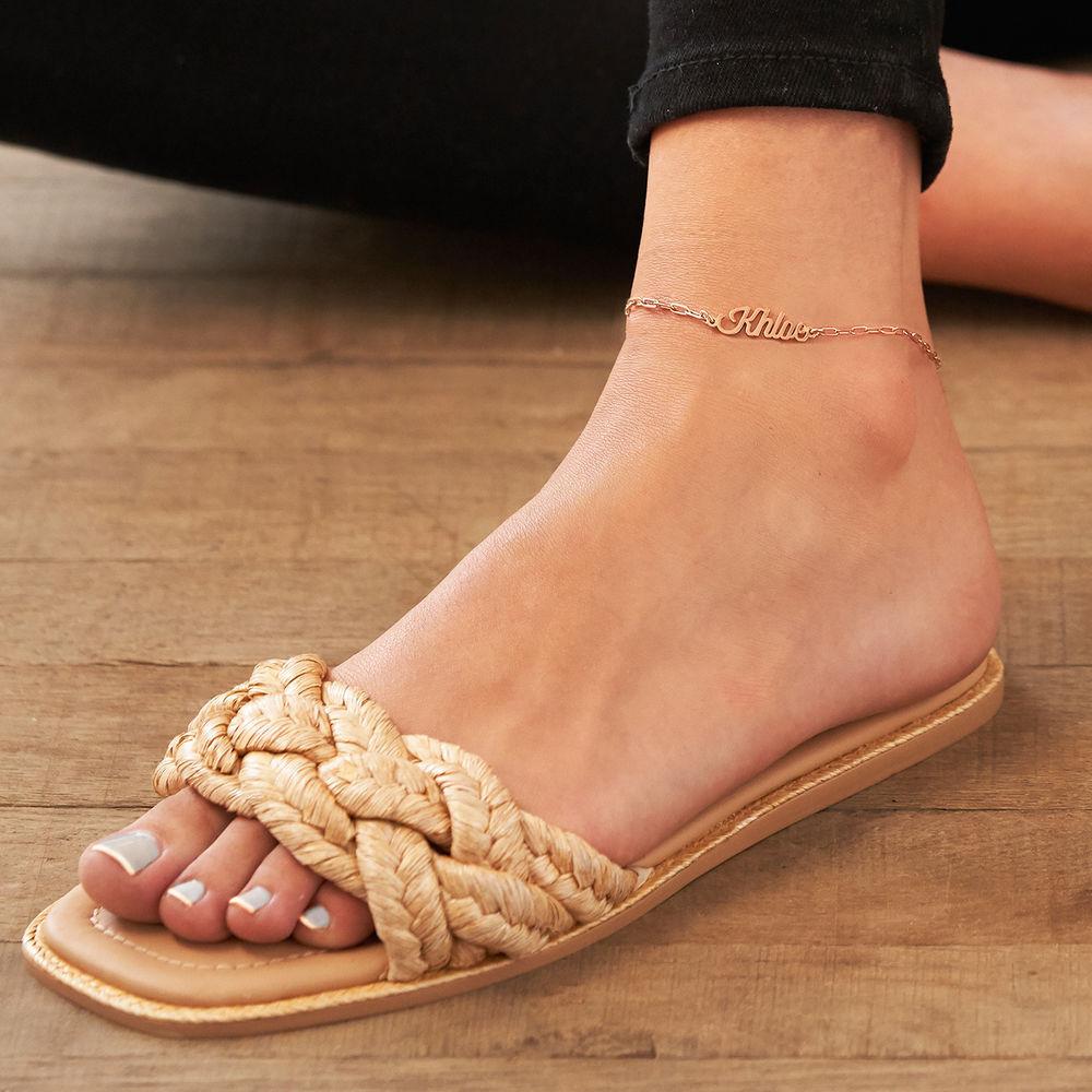 Custom Paperclip Name Bracelet/Anklet in Rose Gold Plating - 3