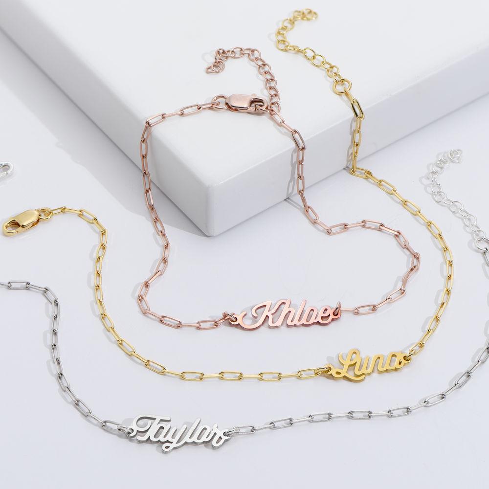 Costume Paperclip Name Bracelet/Anklet in Gold Vermeil - 1