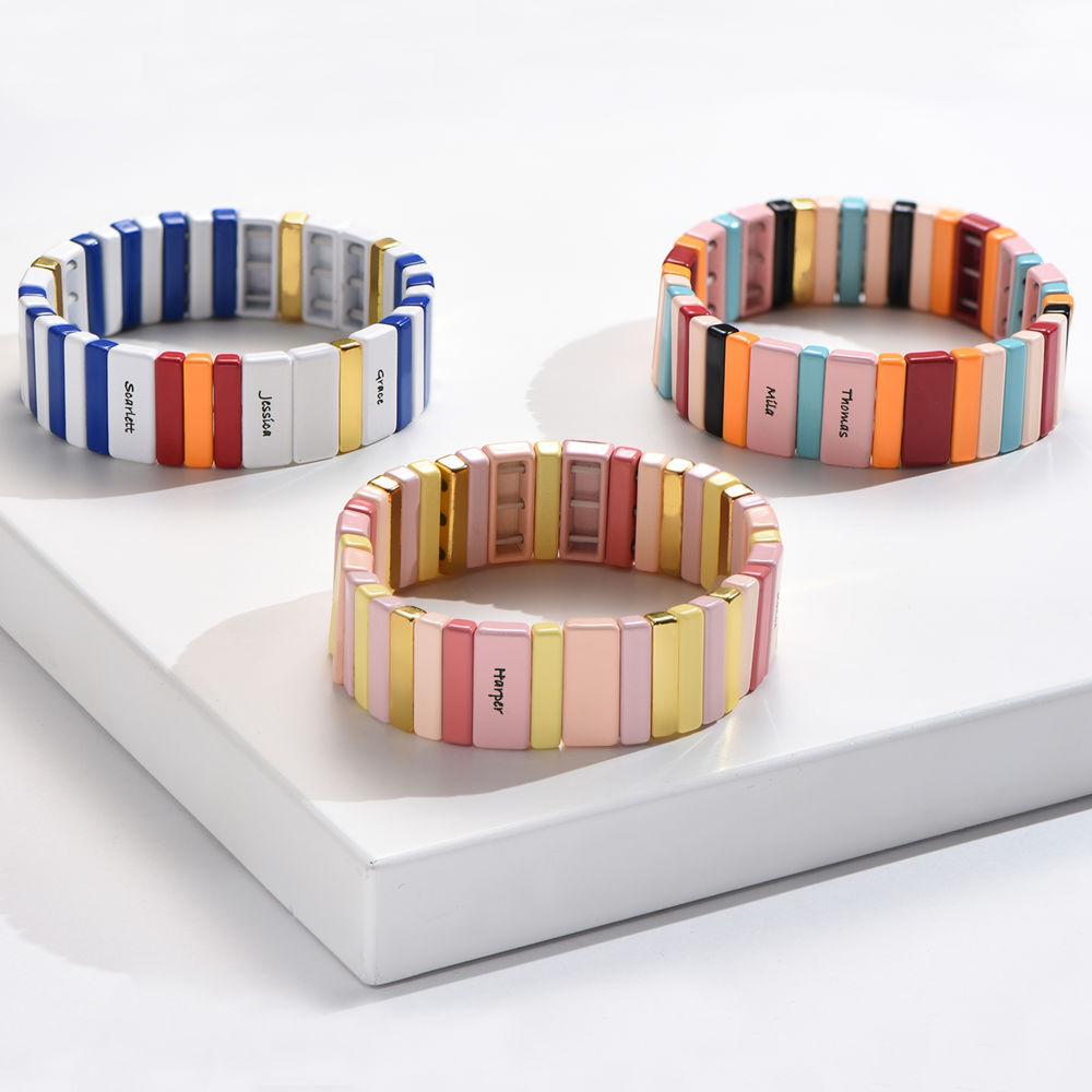 Carnival Tile Bead Bracelet with Names - 1