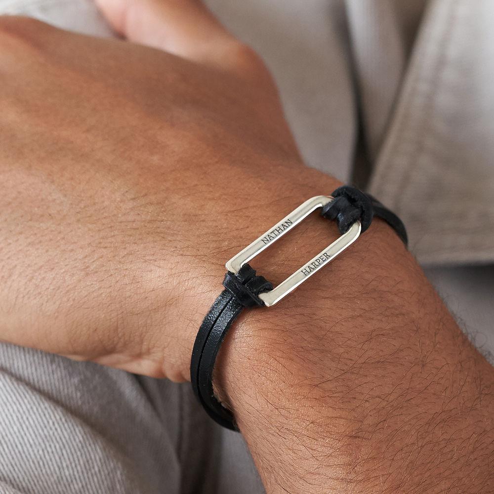 Titan Black Leather Bracelet with Sterling Silver Bar - 3