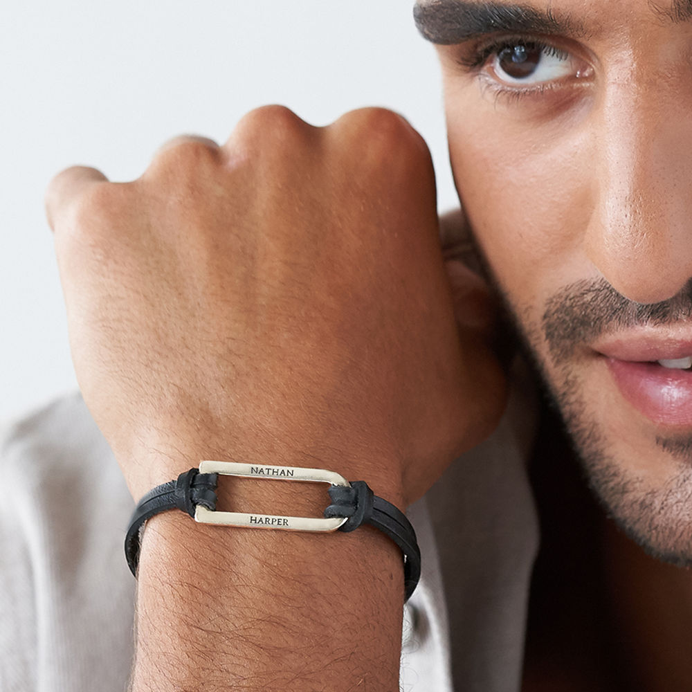 Titan Black Leather Bracelet with Sterling Silver Bar - 4