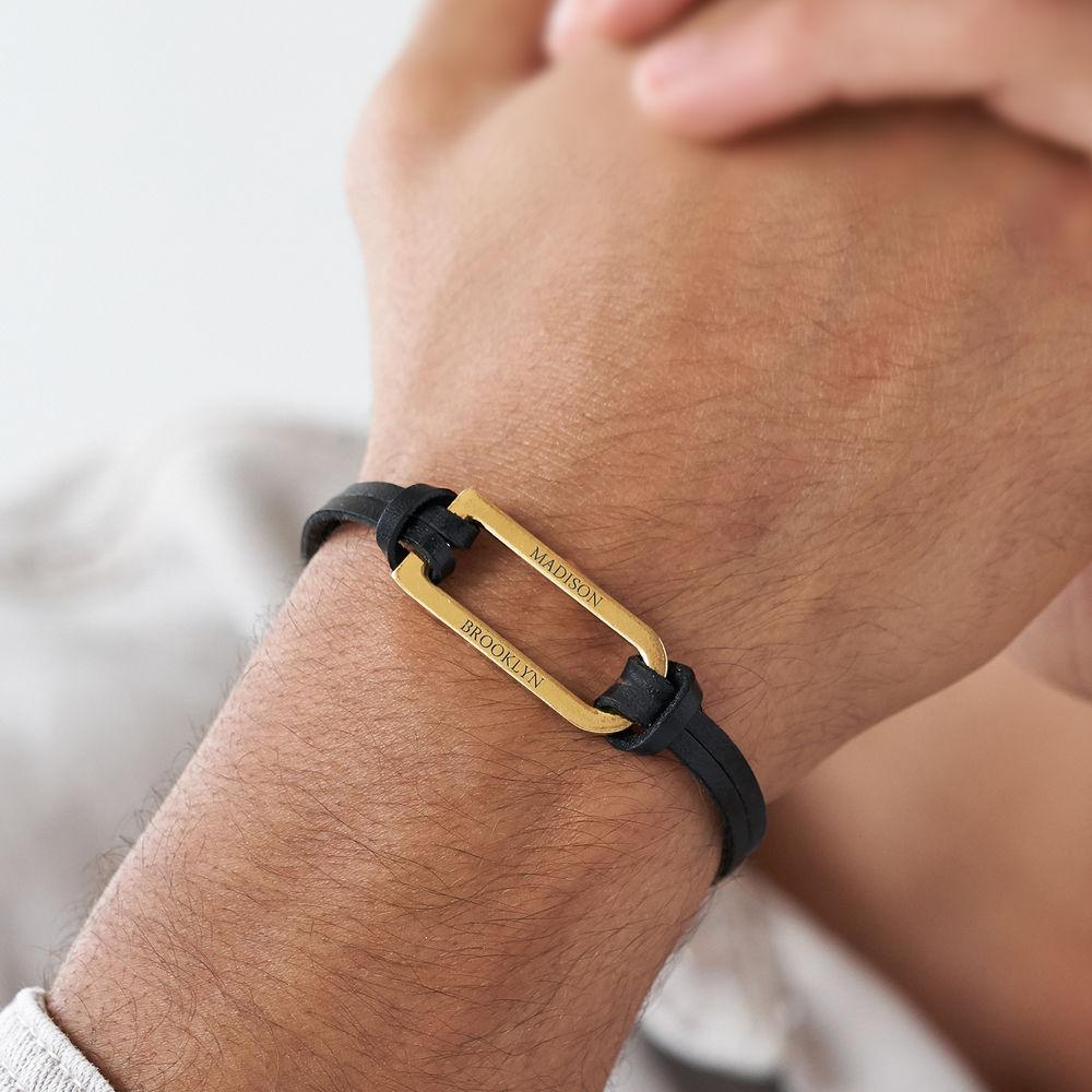 Titan Black Leather Bracelet with Gold Plated Bar - 3