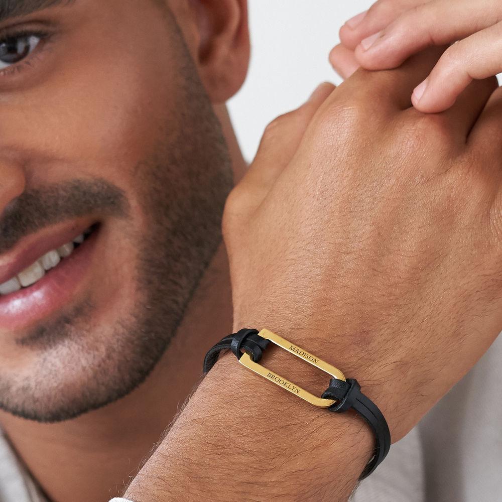 Titan Black Leather Bracelet with Gold Plated Bar - 4