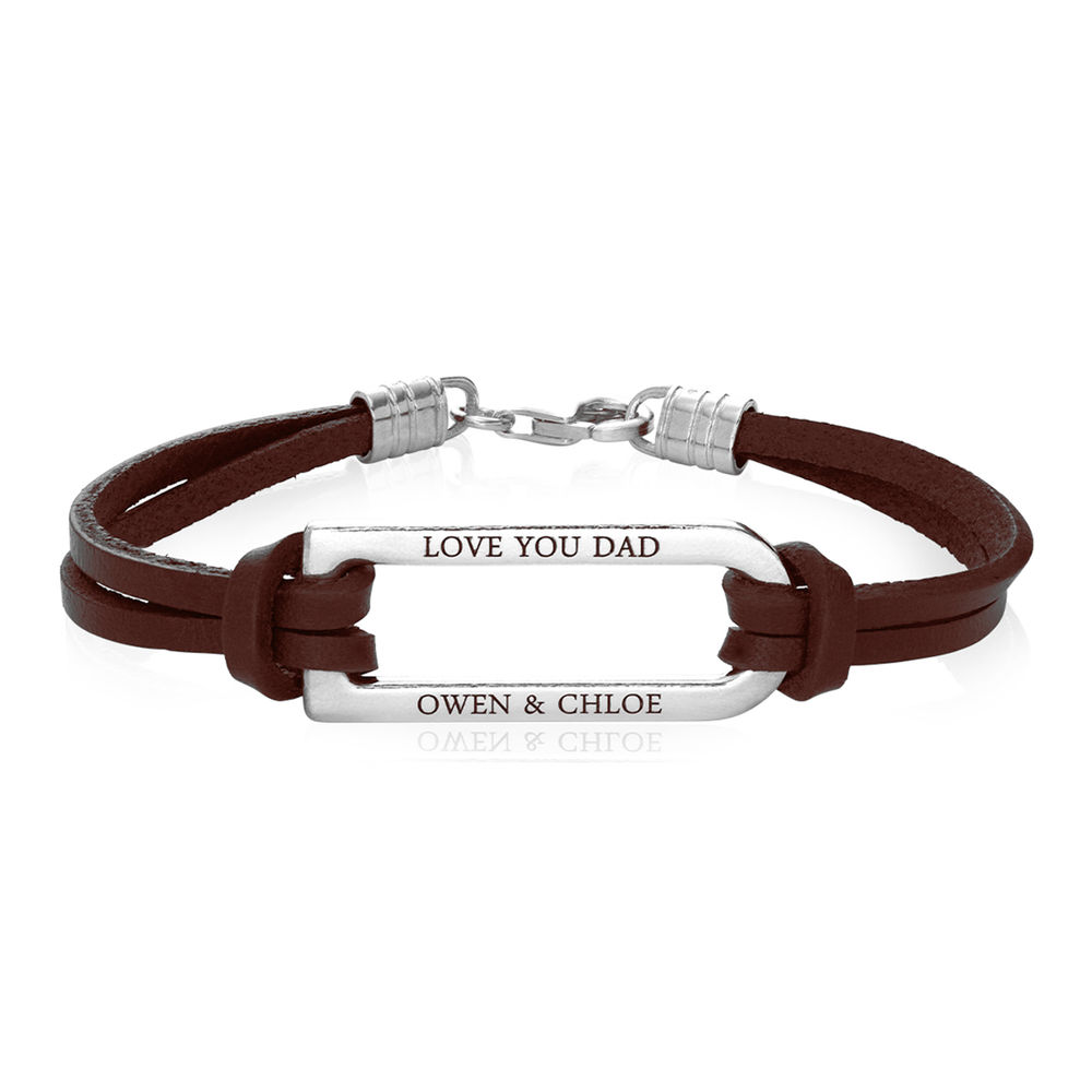 Titan Brown Leather Bracelet with Sterling Silver Bar