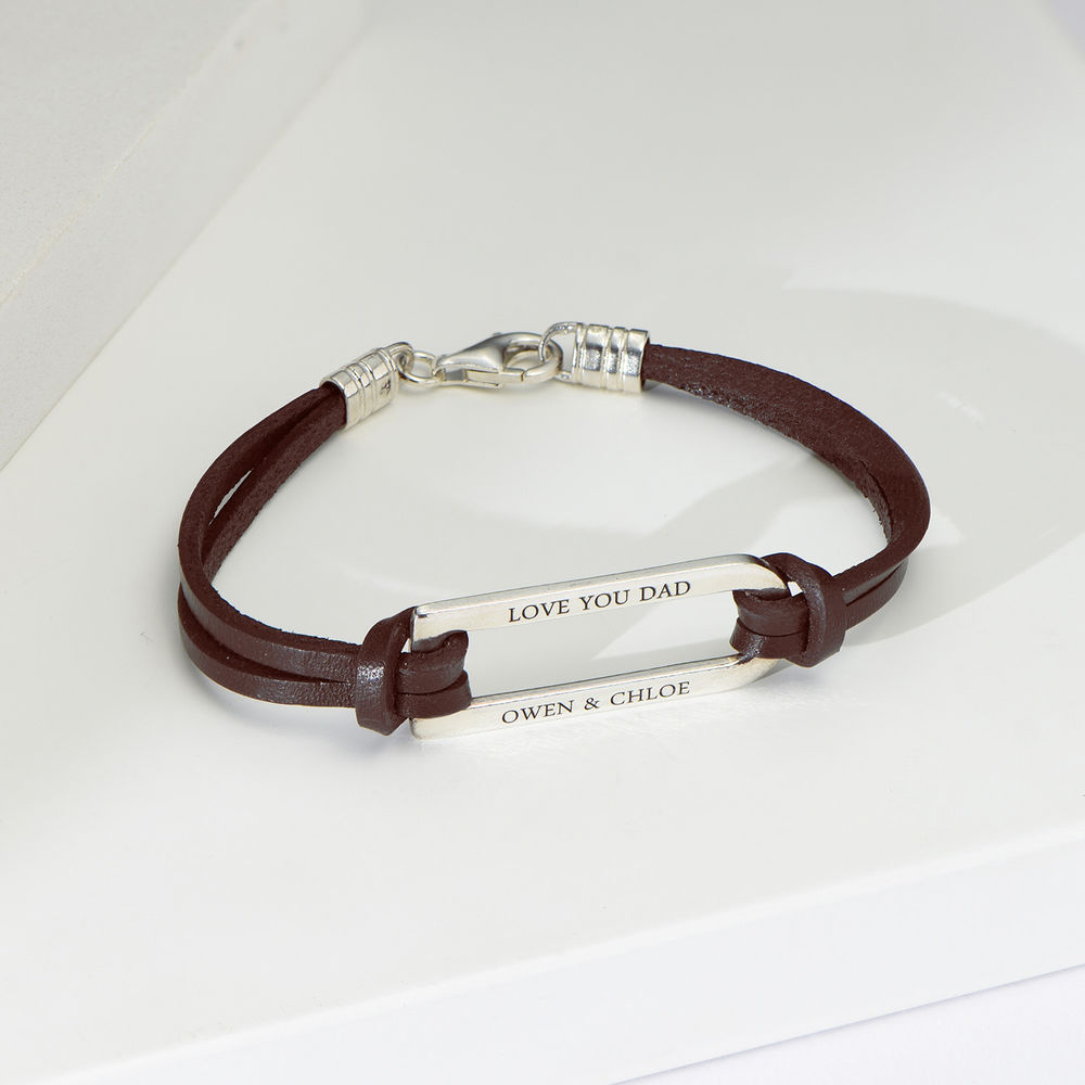 Titan Brown Leather Bracelet with Sterling Silver Bar - 1