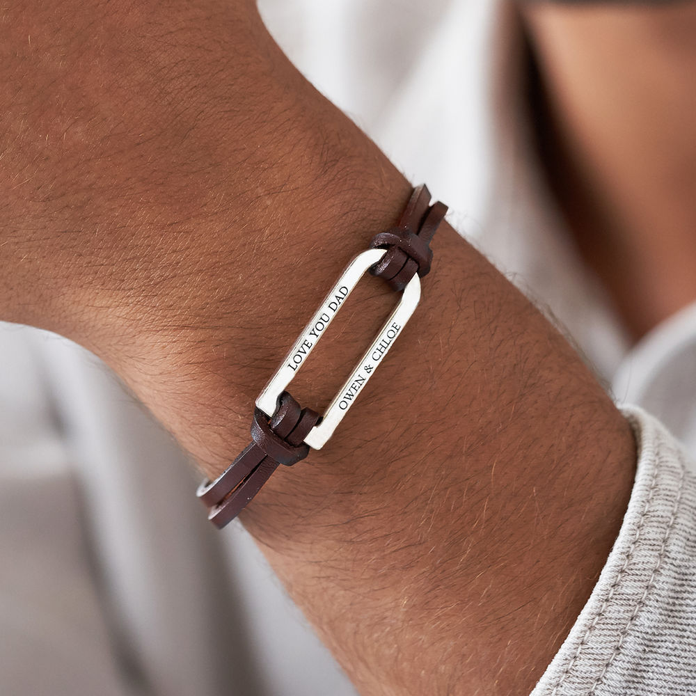 Titan Brown Leather Bracelet with Sterling Silver Bar - 3