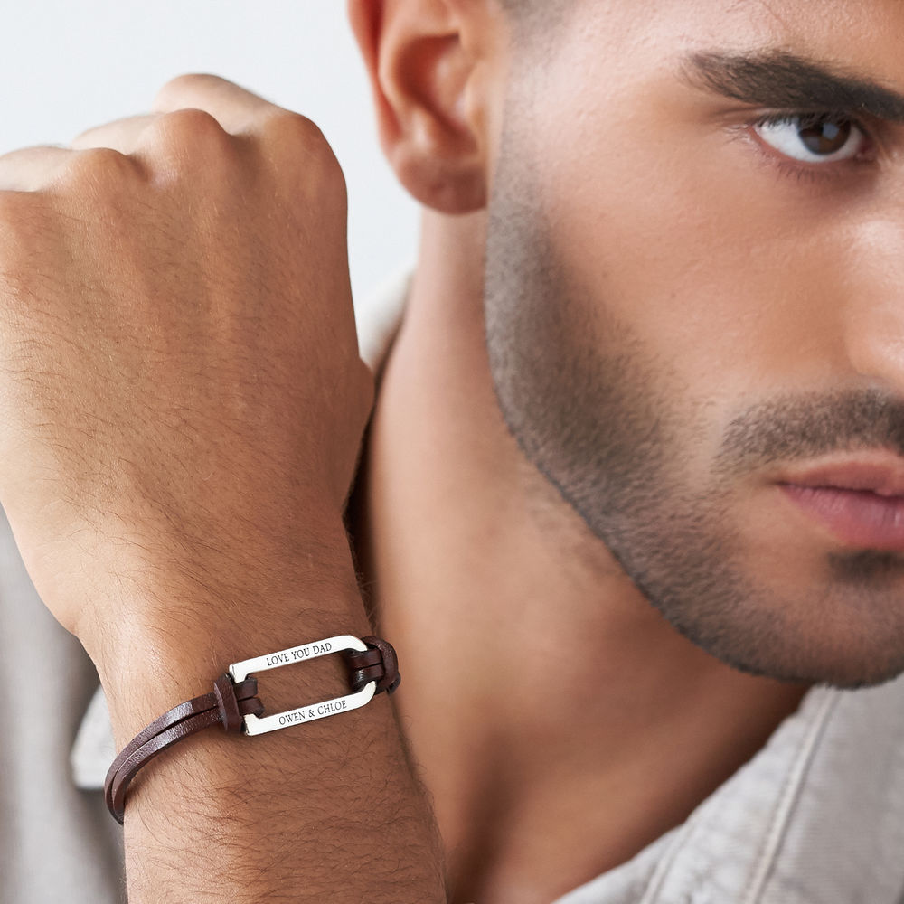 Titan Brown Leather Bracelet with Sterling Silver Bar - 4