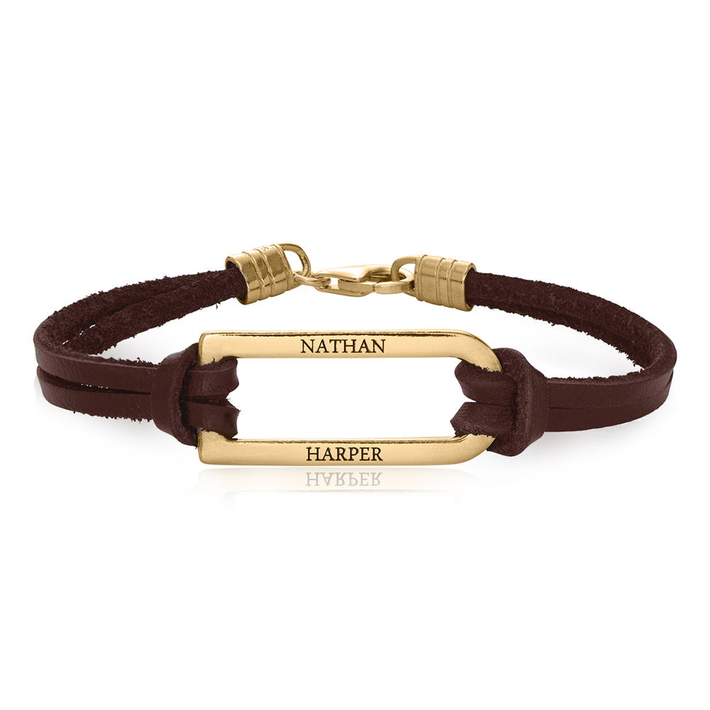 Titan Brown Leather Bracelet with Gold Plated Bar