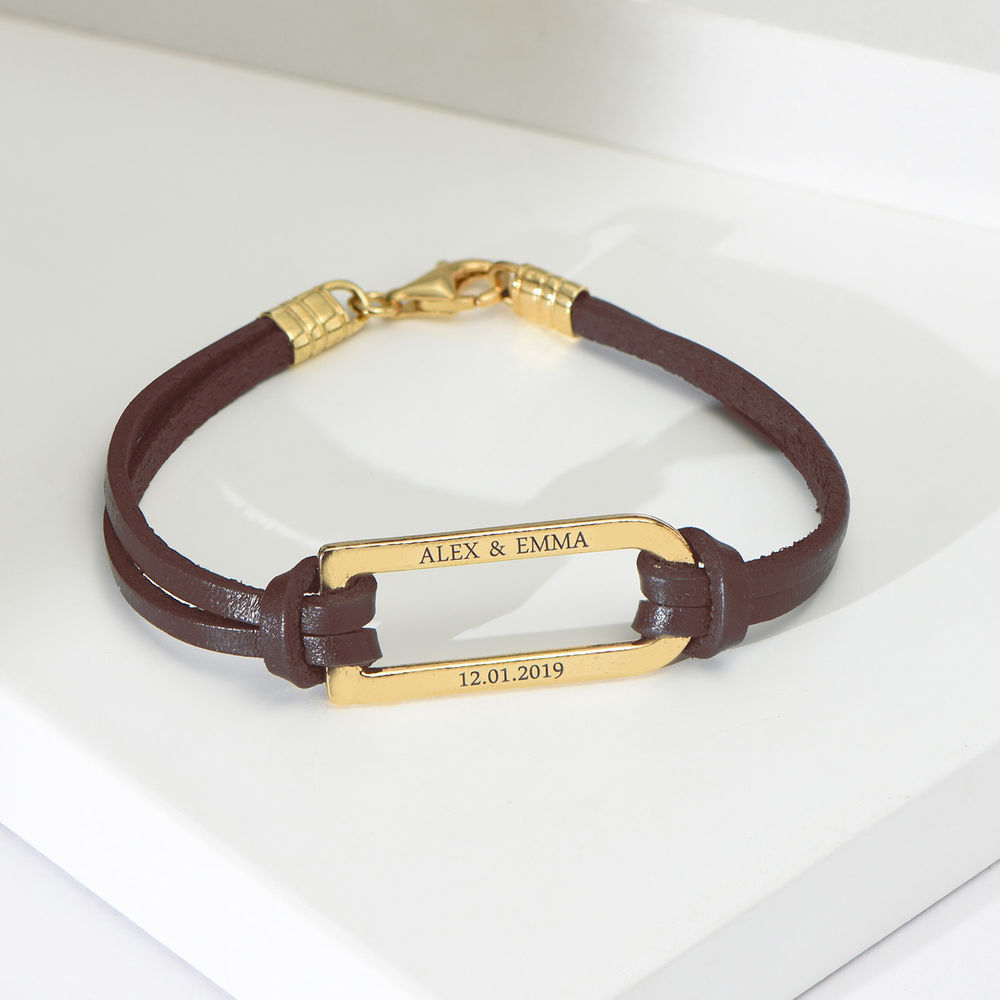 Titan Brown Leather Bracelet with Gold Plated Bar - 1