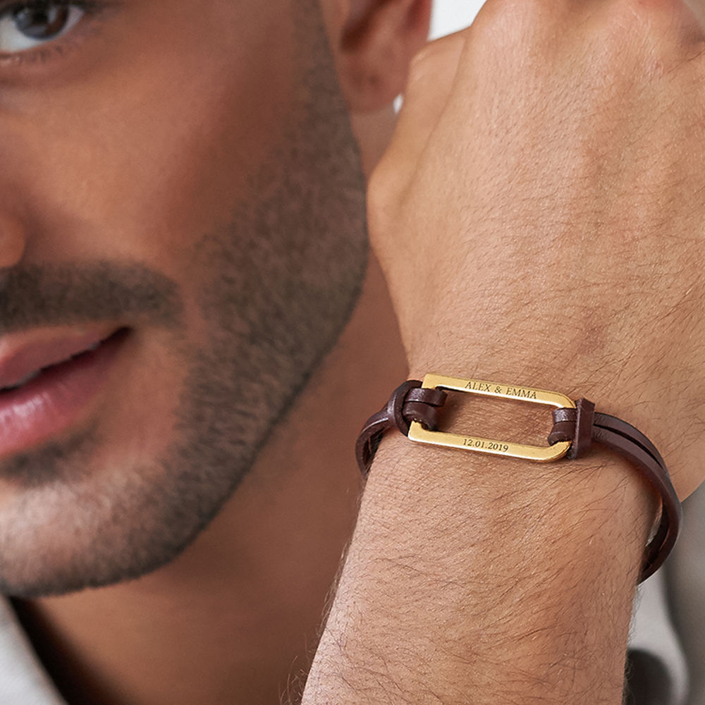 Titan Brown Leather Bracelet with Gold Plated Bar - 3