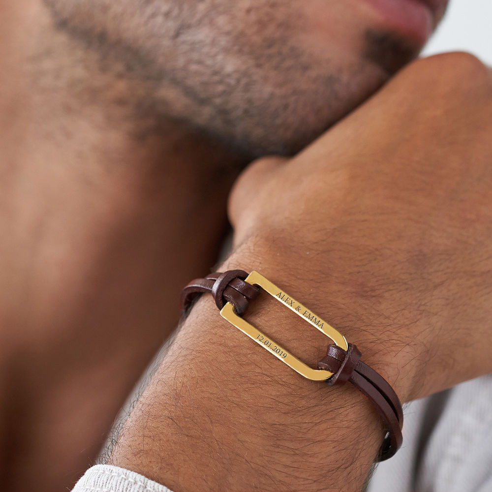 Titan Brown Leather Bracelet with Gold Plated Bar - 4