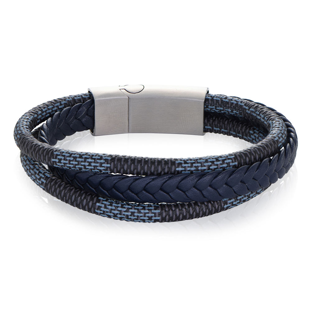 Men's 3-Layer Blue & Grey Braided Leather Bracelet With Stainless Steel - 1