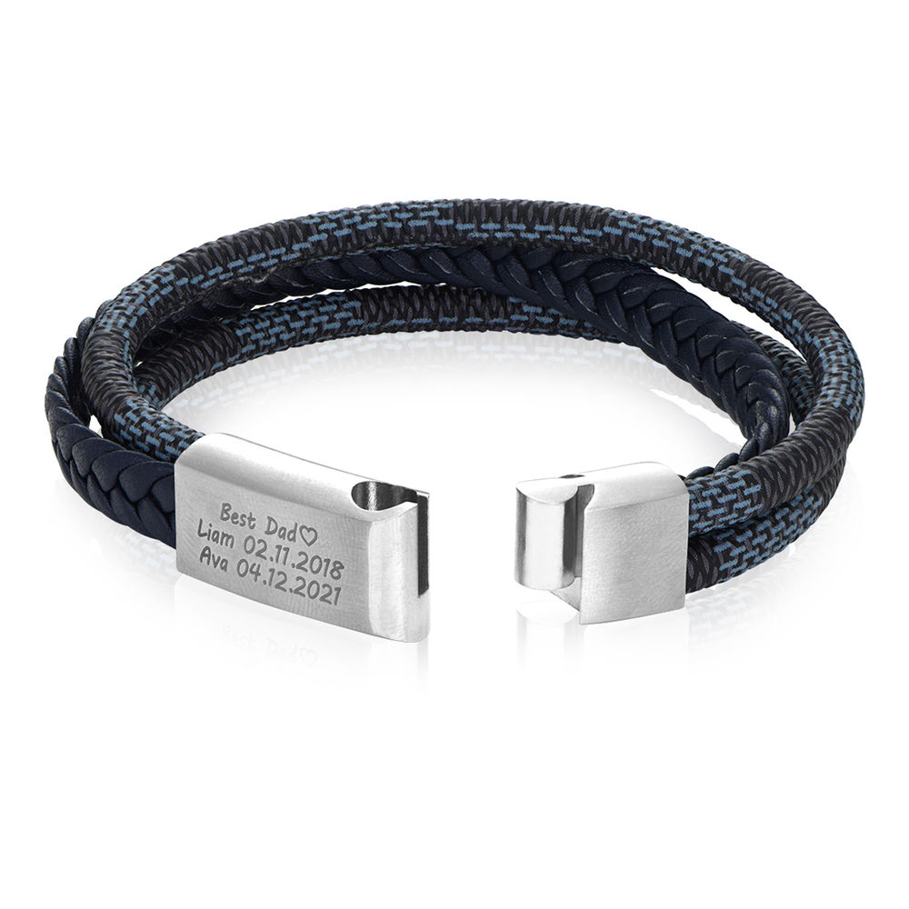 Men's 3-Layer Blue & Grey Braided Leather Bracelet With Stainless Steel - 2