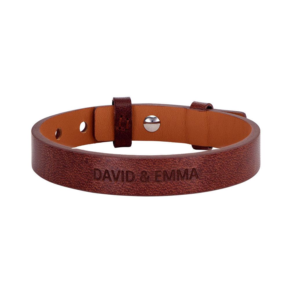Men's Total Brown Leather Name Bracelet