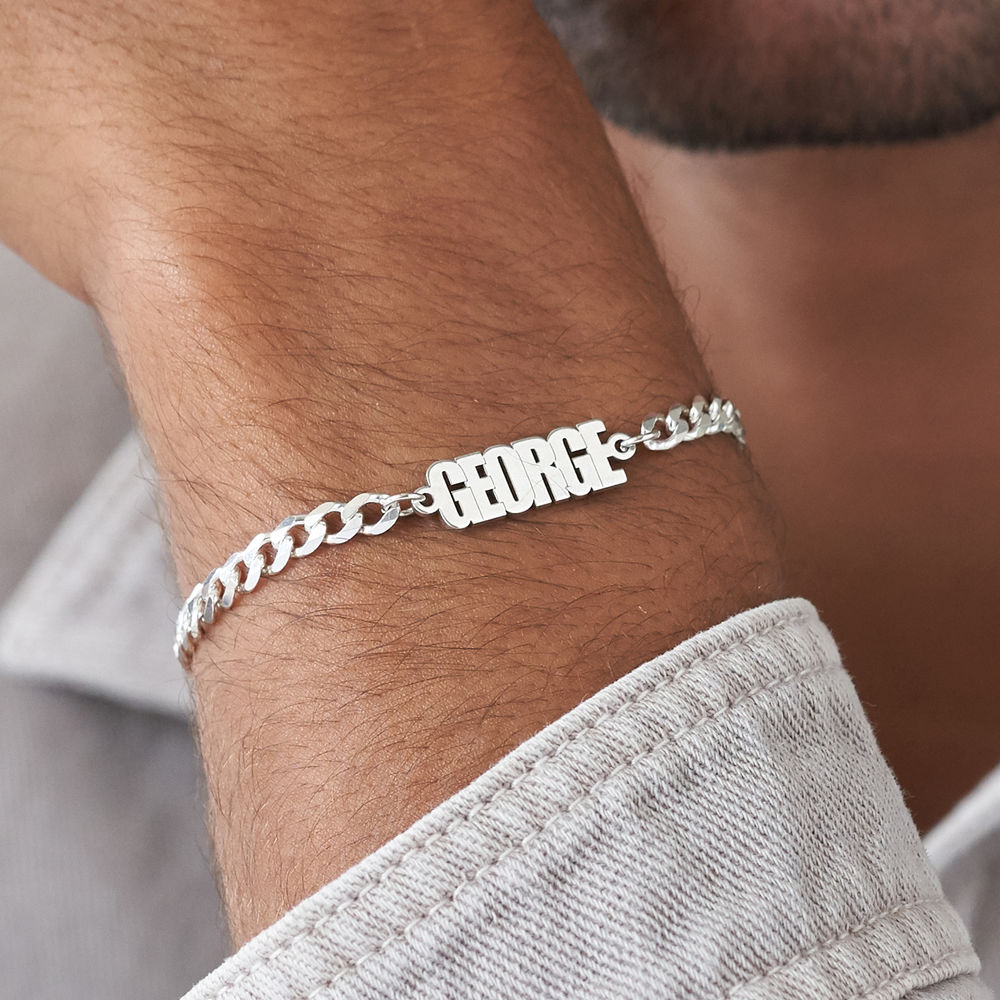 Thick Chain Name Bracelet in Sterling Siver - 4