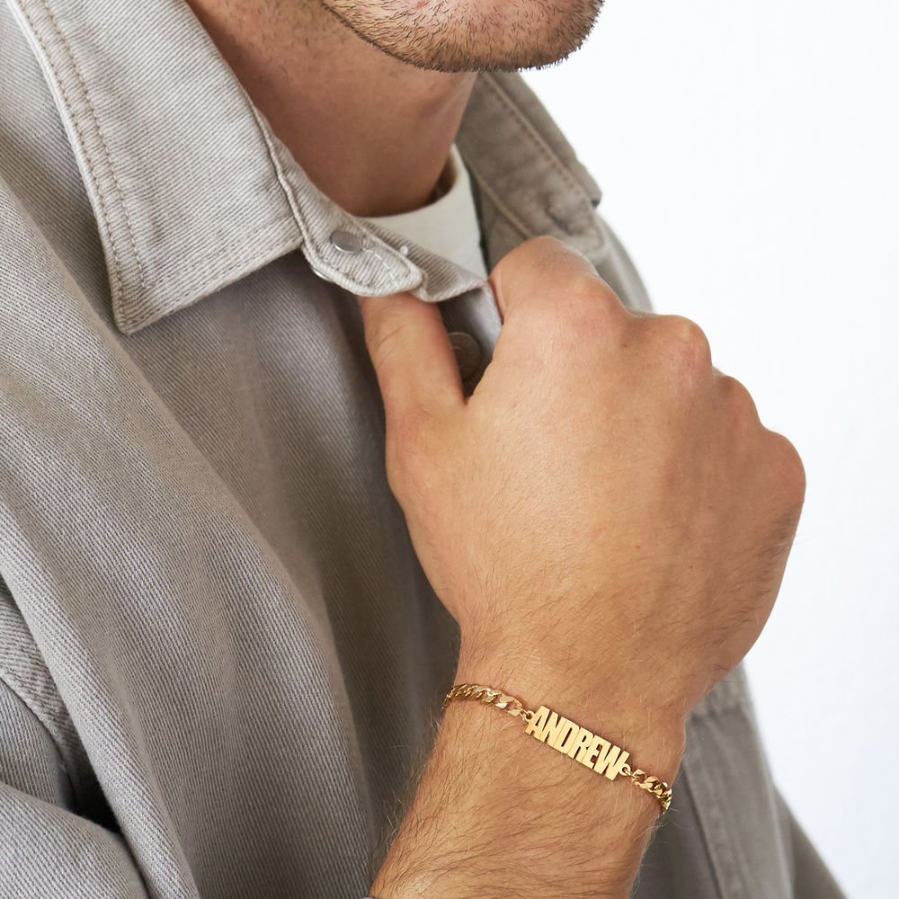 Thick Chain Name Bracelet in 18K Gold Plating - 2