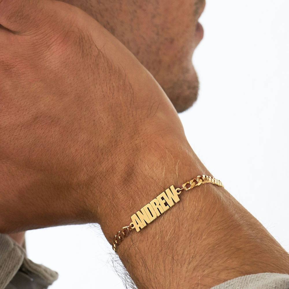 Thick Chain Name Bracelet in 18K Gold Plating - 3